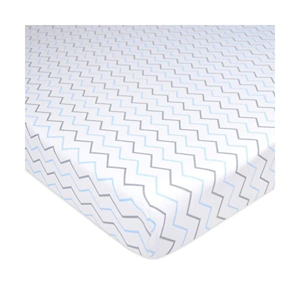 American Baby Company 100% Natural Cotton Value Jersey Knit Fitted Portable/Mini-Crib Sheet, Blue Star/Zigzag, 24″ x 38″ x 5″, Soft Breathable, for Boys and Girls, Pack of 3