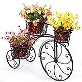 chishizhenxiang Soporte para flores de bicicleta de hierro forjado, soporte para macetas de 3 niveles, moderno y decorativo, para jardín, para 3 macetas (color blanco), negro
