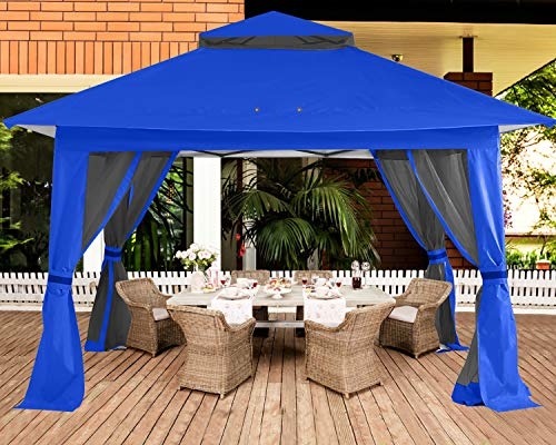 ABCCANOPY 13'x13' Gazebo Tent Outdoor Pop up Gazebo Canopy Shelter with Mosquito Netting (Royal Blue)