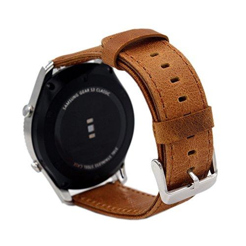 Pinhen Correa de reloj de 16 mm de liberación rápida de malla de acero inoxidable para Motorola Moto 360 2nd 42mm de mujer con herramienta y barra de resorte (marrón de lujo)