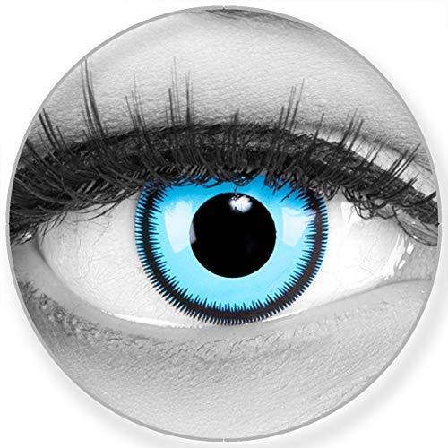 Funnylens Farbige blaue Kontaktlinsen Blue Lunatic - weich ohne Stärke 2er Pack + gratis Behälter – 12 Monatslinsen - perfekt zu Halloween Karneval Fasching oder Fasnacht