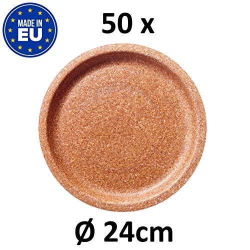 BIOTREM Einwegteller aus 100% Weizenkleie Nachhaltiger Einmalteller für Parties, zum Campen oder für unterwegs – Teller mit 24 cm Durchmesser – Made in EU – (50 Stück)