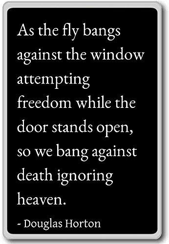 Als de vlieg pony tegen het raam poging. - Douglas Horton citaten koelkast magneet