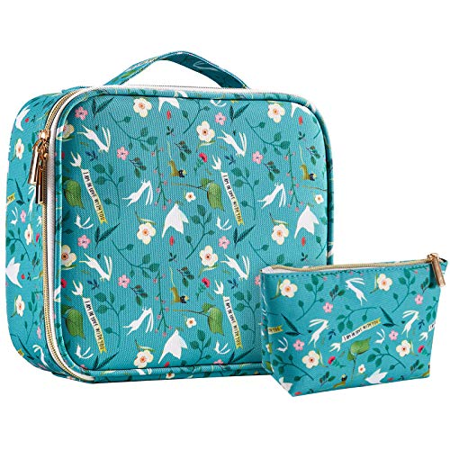Joligrace Makeup Bag Cosmetic Case Vanity Travel Beauty Box Make Up Train Case Hairdressing Tools Organiser with Adjustable Compartment Oxford Fabric, Little Deer