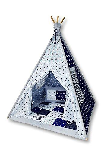 Amilian Tipi Spielzelt Zelt für Kinder T06 (Spielzelt mit der Tipidecke und Kissen)