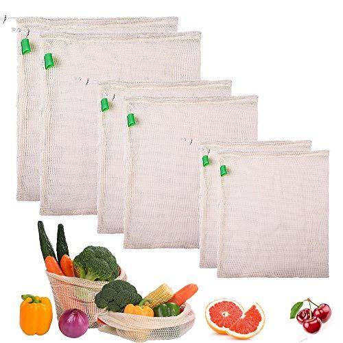 Gudotra 12pz Sacchetti di Verdure e Frutta in Cotone Rete Riutilizzabili Lavabile Degradable Naturale per Alimentari Spesa