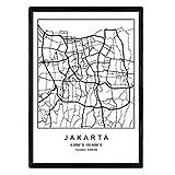 Blade Jakarta Stadtkarte im nordischen Stil schwarz und