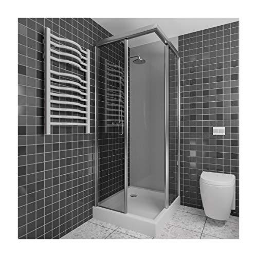 A+H Kunststoffplatte als Duschrückwand Duschverkleidung Wandverkleidung Fliesenersatz - fugenlos und blickdicht - 2x1m oder 2,5x1m - grau weiß schwarz beige creme (200x100cm, hellgrau)