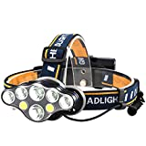 Linterna frontal recargable, lúmenes ultra brillantes de 8 linterna LED con luces rojas blancas para acampar al aire libre Ciclismo Correr Pesca