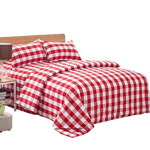Michorinee - Juego de ropa de cama a cuadros (140 x 200 cm, microfibra, 140 x 200 cm y 70 x 90 cm), diseño de cuadros, color rojo y blanco