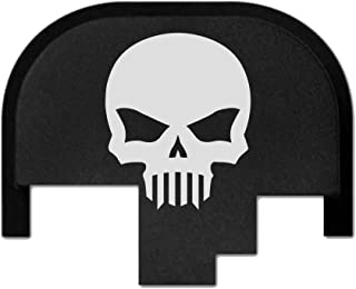 Bastion rear slide cover plate for Smith & Wesson S&W M&P 9mm .40 40 cal .357 45 acp full size & compact only, butt plate laser engraved - Bastion Skull
