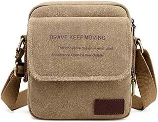 DIEBELLAU Men's Canvas Bag Shoulder Slung Small Bag Fashion Sports and Leisure Multi-Function Carry Bag Men's Outdoor Small Bag (Color : Khaki)