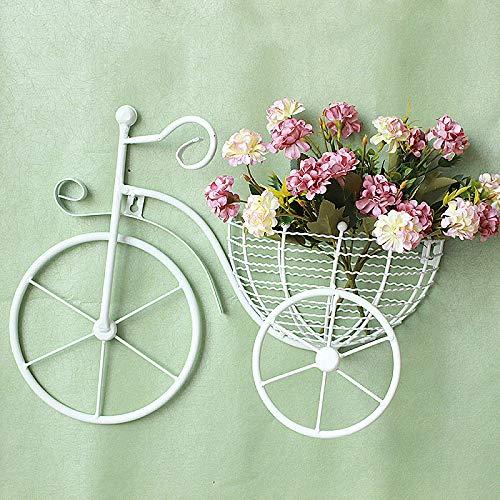 zenggp Adornos De Pared Colgante Bicicleta Cesta Jardin Decoración Hierro Colgante De Pared,White-43 * 31cm