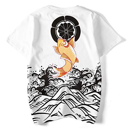 Preisvergleich Produktbild 3D T-Shirt Sommer Jugend Kurzärmeliges Männliche Chinesische Art Tintenfisch Lose Bodenbildung Hemd Stil Einzigartige Mode Lässig, S, Weiß