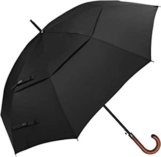 52/54/62inch Wooden J Handle Golf Umbrella Windproof UV Protection & Classic Stick Wedding Umbrella, Auto Open Cane Hook Handle