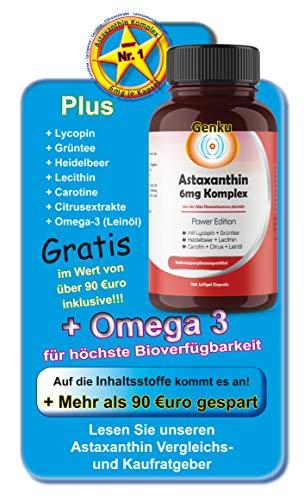 6mg Astaxanthin 100 Softgel Kapseln, Genku´s bestes Astaxanthin 7-fach Komplex sehr hohe Bioverfügbarkeit mit Omega-3 Lycopin Grüntee Heidelbeer Carotine, stärker als 4mg + 12mg und OPC + Q10