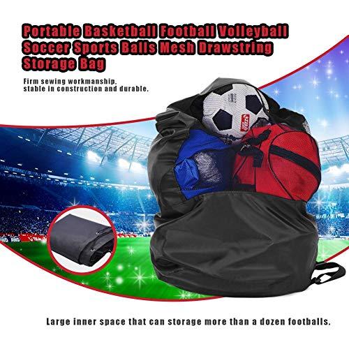 Transporttas met trekkoord, voor sportballen, nettas, opslag, voetbal, volleybal, basketbal - grote capaciteit, 51,2 x 23,6 inch, zwart
