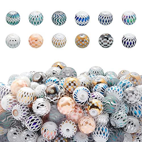 PandaHall 12 cuentas de cristal electrochapadas de 8 mm con rejilla, cuentas de vidrio a granel para hacer joyas para proyectos de bricolaje, pulseras, collares, pendientes
