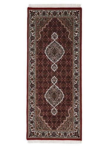 CarpetFine Tapis Tabriz Mahi Rouge 80x200 cm Bordure,Ornamental,Vie Orientale | Tapis noué à la Main pour Le Salon et la Chambre à Coucher
