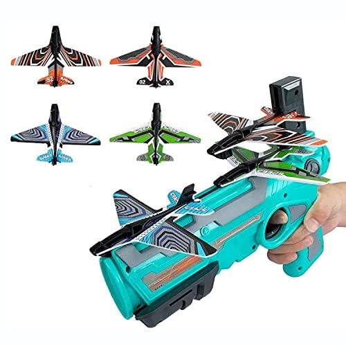 JDYDDSK Juego de Disparos de Juguete para niños de 5 6 7 8 9 10+ años, avión de catapulta de Burbujas, avión de Espuma Modelo de eyección con un Clic, con 4 Lanzador de avión Planeador