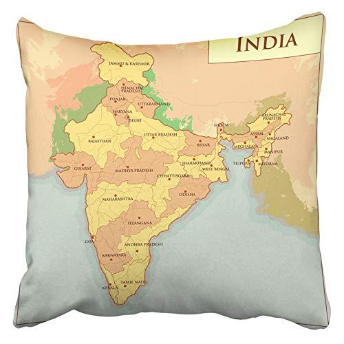 Bue Time Wurfkissenbezüge Politische physische Karte Idnia Unterschiedlicher Staat Punjab Land Haryana Idnian Kerala Region