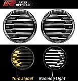 Razer Auto Rock Crawler Black+Clear lens+Turn Signal LED Light+LED Running Light 1 Pair (Black) for 07-17 Jeep JK Wrangler