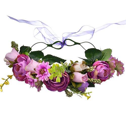 YAZILIND Mori Mädchen Blume Krone Stirnband Handmade Floral Garland Hairband Headdress Hair Kranz mit verstellbarem Band Zubehör Festival Hochzeit Lila