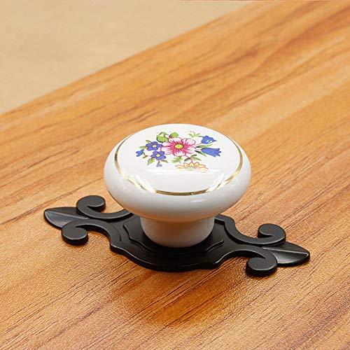 Deurklink 5 stuks Vintage Ceramic Kastknoppen Handles Pulls for Drawer Kast buffetkast garderobemeubilair Door Kitchen Geldt voor voordeuren, doorgangen, badkamers (Color : B, Size : 38mm)