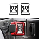 BORUIEN Interior Moulding for 2018+ Jeep Wrangler JL Rear Tail Light Covers Guards Protectors Decor for Jeep Wrangler 2018 Up Paw Print