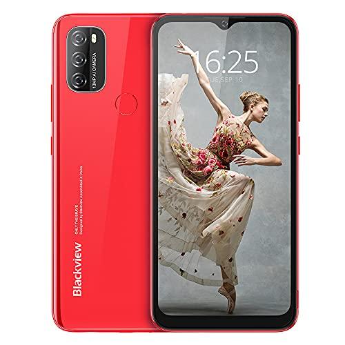 Blackview A70 (E) Android 11 Smartphone ohne Vertrag, 6.517 Zoll HD mit 5.380mAh Batterie, 3GB RAM+32GB Speicher Octa-core, 13MP+5MP Kamera, Fingerabdruck Sensor, 4G Handy Dual SIM Rot