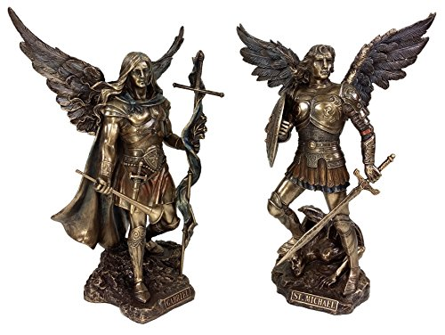 VERONESE Pair - Saint Michael and Gabriel Archangel W/Sword and Shield Food on Demon Statue Bronze Finish