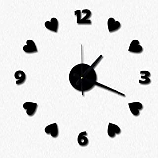 chenshaorme Love Hearts Numéro Horloge murale bricolage acrylique Stickers muraux Montres Décoration d'intérieur Horloge