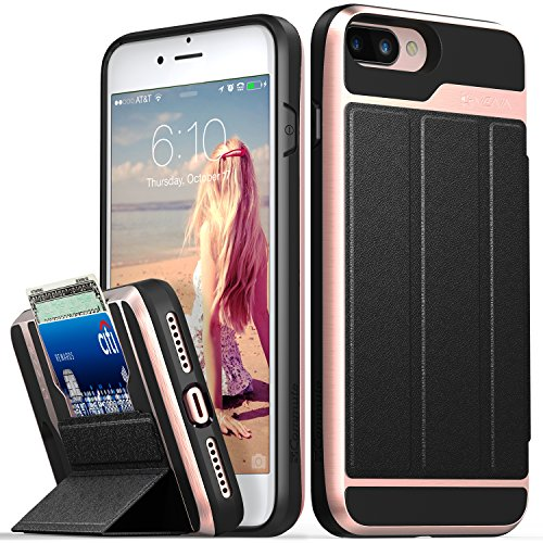 Vena Wallet Case Compatible with iPhone 8 Plus, iPhone 7 Plus, vCommute (Military Grade Drop Protection) Flip Leather Cover Card Slot with Kickstand Compatible w/iPhone 8 Plus and 7 Plus (Rose Gold)