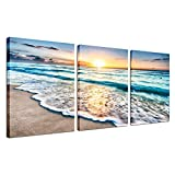 Beach Decor Framed Wall Art  3 Panel Sea Wave Sunset Poster Canvas Print Home Office Decorations for Living Room Seascape Modern Artwork Ocean Painting Pictures for Bedroom Ready to Hang 12''x16''