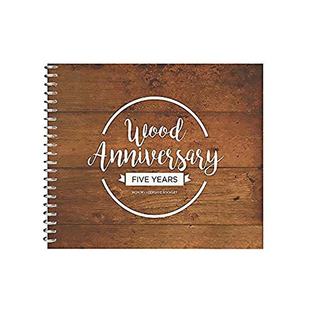 Unique 5th Wedding Anniversary Memory Book with Stickers and A Matching Card - Cute Journal for Your Wood Anniversary - The Perfect Keepsake Booklet for Couple Memories - Great Gift for Husband & Wife