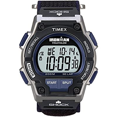 Timex Men's T5K198 Ironman Endure 30 Shock Full-Size Black/Silver-Tone/Blue Fast Wrap Watch