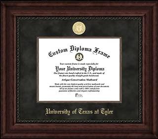 Laminated Visuals University of Texas at Tyler Patriots - Gold Medallion - Suede Mat - Mahogany - Diploma Frame