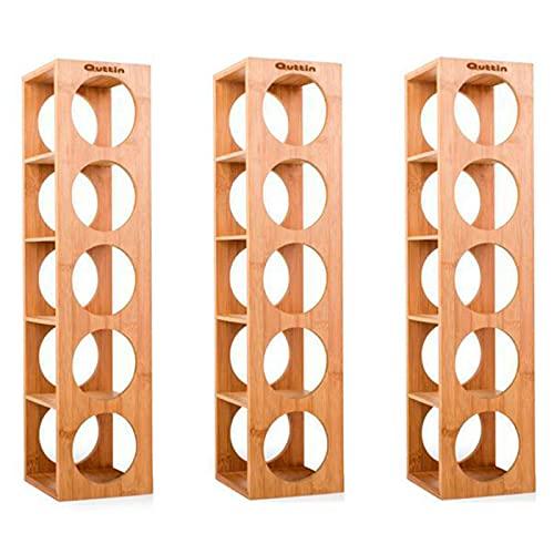 Quttin - Pack de 3 Botelleros apilables de bambú 5 cavidades, Talla única 53 x 13 x 13,5 cm. Estantes, Soportes de Madera con 5 baldas para Botellas de Vino. Estantería, Organizador de Bebidas Cocina