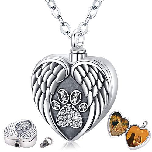 Eusense Urne Kette für Asche, 925 Sterling Silber Urne Anhänger für Hunde Katzen Asche, Medaillon Halsketten mit Bildern, Herz Andenken mit Pfote
