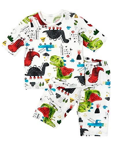 Unifriend 7分袖7分丈 男児 キッズ パジャマ オーガニック 綿100% 子供 ルームウェア ねまき 上下セット (ケープディノ, 130cm (7-8歳))