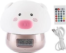 WENHANGshidai LED Siliconen Lamp USB Wake-up Opname Geluid Varken Wekker voor Slaapkamer, Badkamer, Keuken Nachtlampje (Goud)