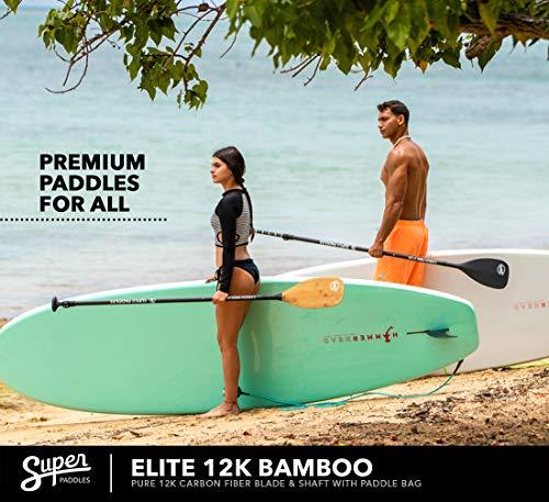 Super Paddles Carbon Fiber SUP Paddle - 3-Piece Adjustable Stand Up Paddle Carbon Fiber Series (Elite 12K Bamboo: Pure 12K Carbon Fiber with Bamboo Veneer)