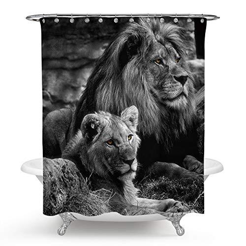 DQGZYF Löwenpaar Duschvorhang Polyester wasserdicht & schimmelresistent Bad Badewanne dekorative Trennwand Vorhang mit 12 Haken 150 * 180cm