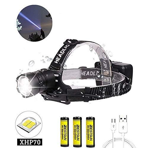 LUXJUMPER Súper brillante linterna frontale XHP70 de 10000 lúmenes, linterna de cabeza LED de alta potencia recargable con zoom 3 modos faro linterna frontales impermeable para camping