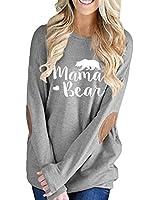 Women's Long Sleeve Crew Neck Mama Bear Shirt Loose Pullover Blouse Tunic Tops Gray S
