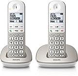 Philips XL4902S/22 - Teléfono (Teléfono DECT, 50 m, 300 m, Polifónico, Escritorio, Plata, Blanco)