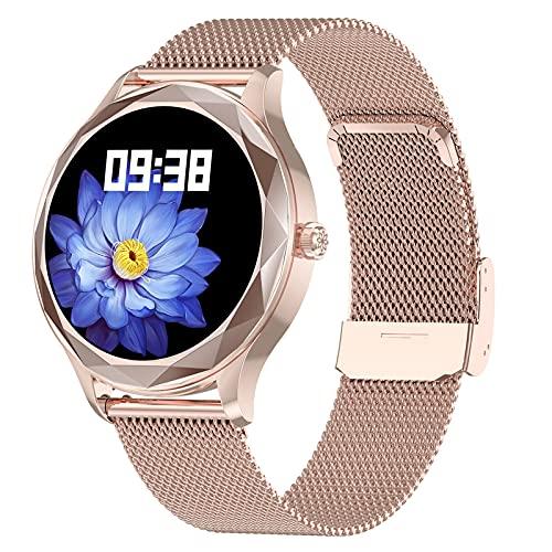 Smartwatch Mujer, Reloj Inteligente Impermeable IP67, Pulsera de Actividad Inteligente con Monitor de Ciclo Menstrual Femenino Sueño Pulsómetro Podómetro Contador de Caloría para Android iOS,Oro