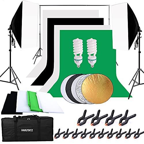 HAKUTATZ® Profi Fotostudio Greenscreen Set 4X Hintergrundstoff (schwarz, weiß, grün) Hintergrundsystem Studiosets 5-in-1 Reflektor Lampenstativ mit Stativ Softbox Foto Hintergrund Set