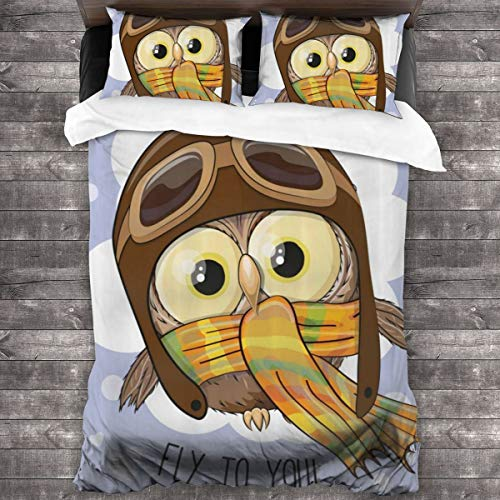 LINARUBE Duvet Cover Set 3 PCS,Cartoon Owl In Pilot Hat Fly To You Text Caricature Childish Cheerful Art,Bedding Duvet Cover with 2 Pillowcases(King 220x230cm)