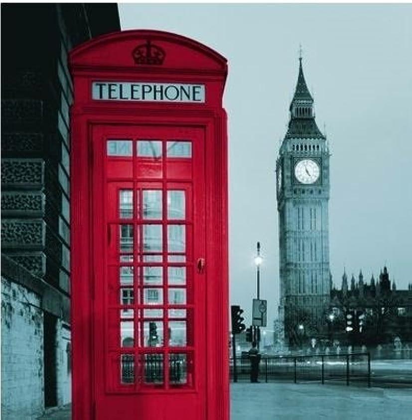 おもてなし買う浸したおしゃれ シャワーカーテン ロンドン ビッグベン & 赤い 電話ボックス 180×180cm 間仕切りにも